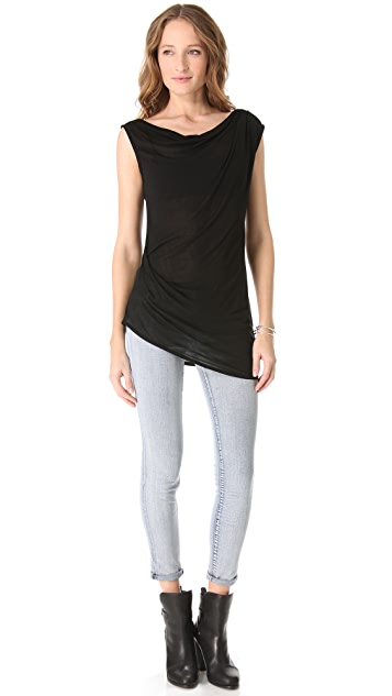 Heather Asymmetrical Drape Tank
