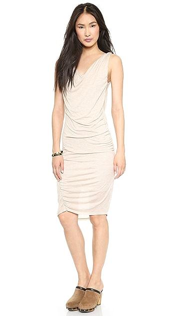 Heather Double Cowl Neck Cascade Dress