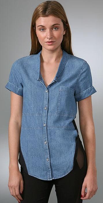 Helmut Lang Denim Knit Combo Shirt