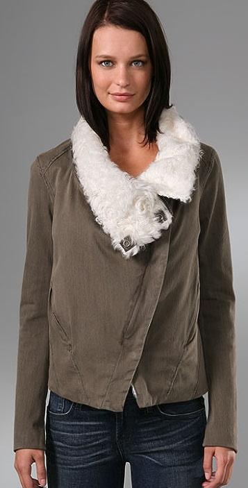 Helmut Lang Denim Square Shoulder Shearling Jacket