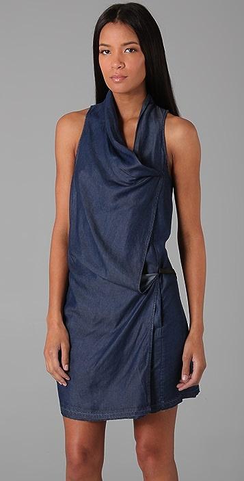 Helmut Lang Denim Silky Wash Wrap Front Dress