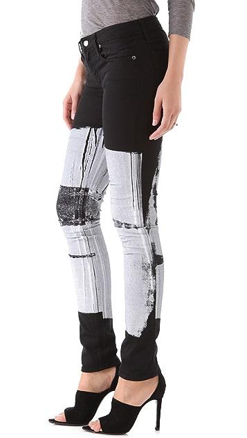 HELMUT Helmut Lang Bar Print Skinny Jeans