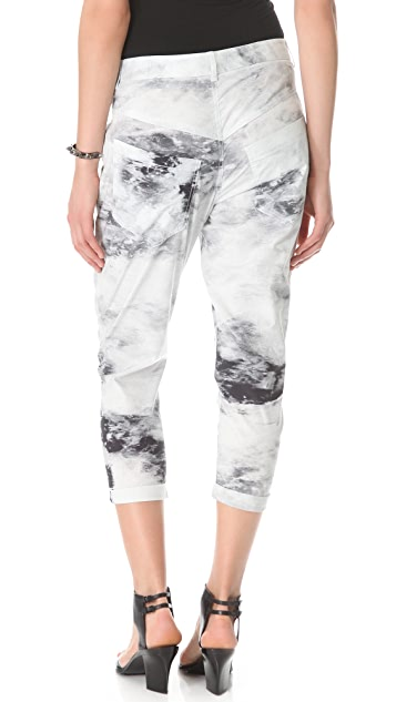 HELMUT Helmut Lang Smudge Print Poplin Slouchy Skinny Pants
