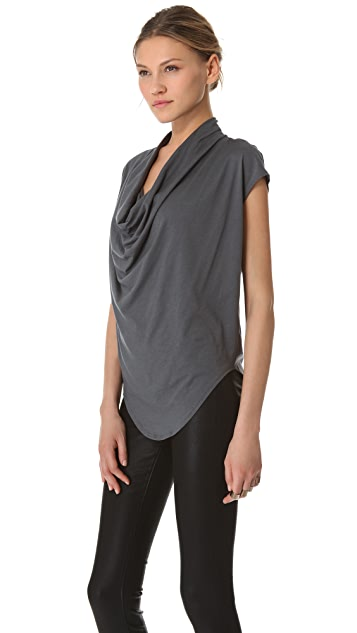 HELMUT Helmut Lang Feather Jersey Drop Neck Top