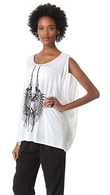 HELMUT Helmut Lang Spiny Fish Print Top
