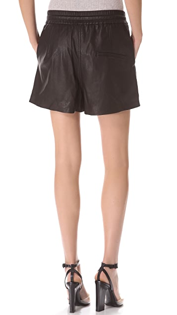 HELMUT Helmut Lang Pull On Leather Shorts
