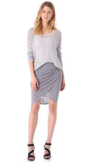 HELMUT Helmut Lang Kinetic Jersey Side Gather Skirt