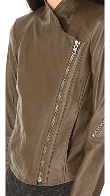 HELMUT Helmut Lang Washed Leather Moto Jacket