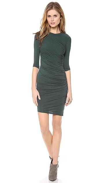 HELMUT Helmut Lang Nova Jersey Ruched 3/4 Sleeve Dress