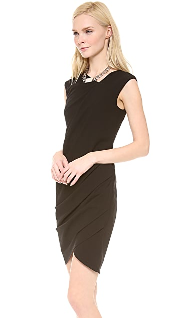 HELMUT Helmut Lang Dry Crepe Open Asymmetrical Dress