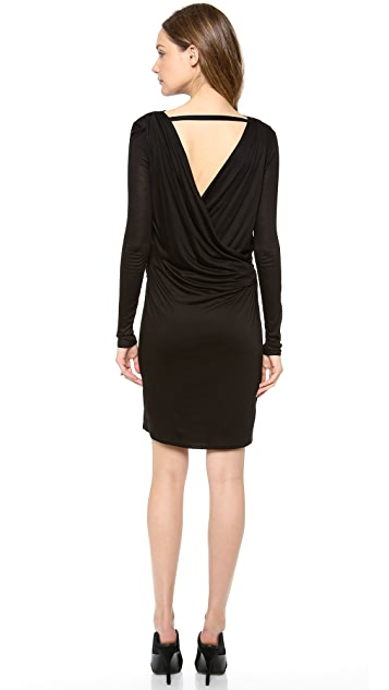 HELMUT Helmut Lang Slide Jersey Crossover Draped Dress