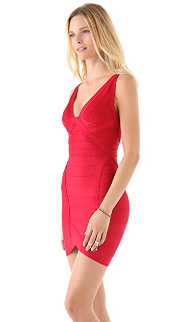Herve Leger Novelty Essentials V Neck Cocktail Dress