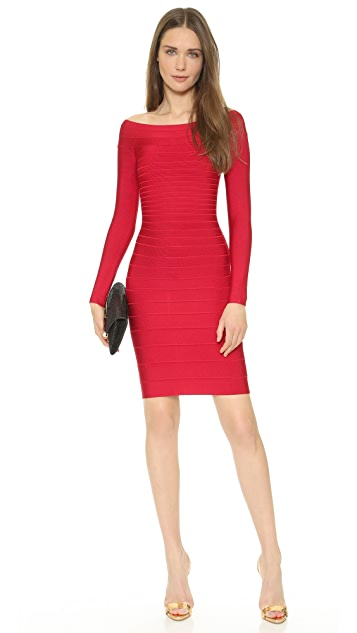 Herve Leger Signature Essential Long Sleeve Cocktail Dress