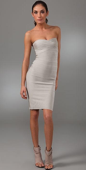 Herve Leger Signature Essentials Strapless Dress