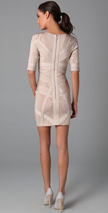 Herve Leger Geometric Jacquard Dress