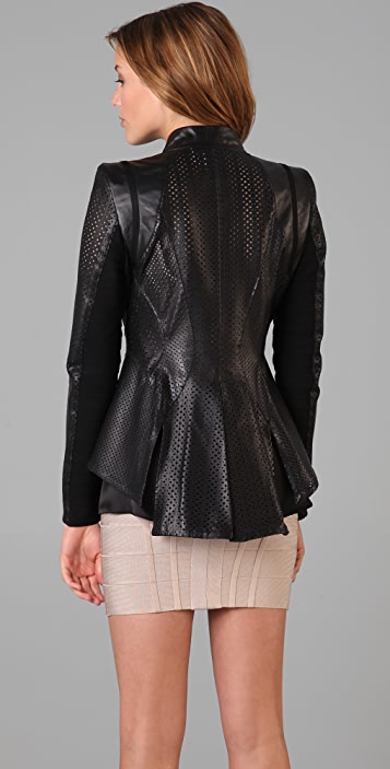 Herve Leger Leather & Bandage Perforated Jacket