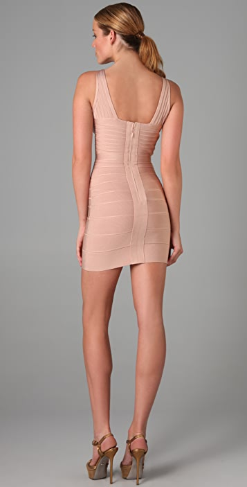 Herve Leger Crisscross V Neck Dress