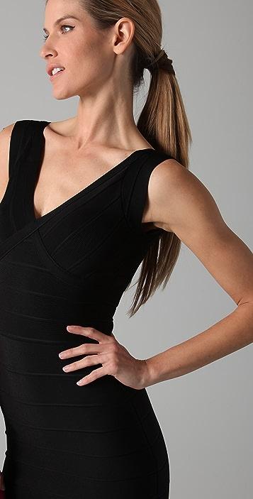Herve Leger Novelty Essentials V Neck Dress