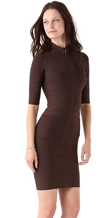 Herve Leger Turtleneck 3/4 Sleeve Dress