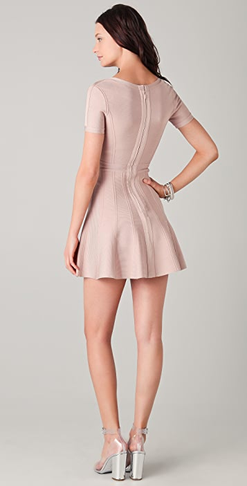 Herve Leger A Line Scoop Neck Dress