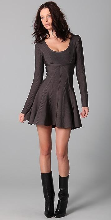 Herve Leger Long Sleeve Dress With A Line Skirt Shopbop