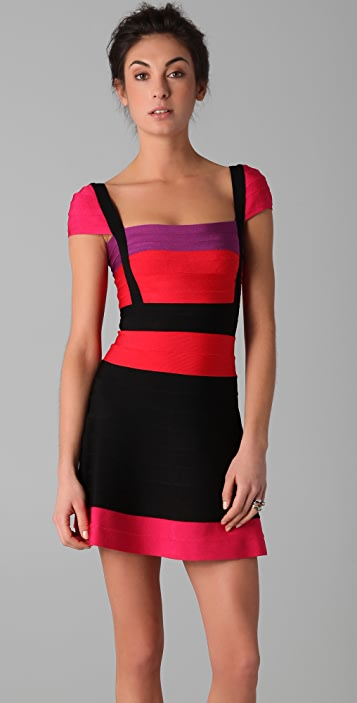 Herve Leger Colorblock Lola Dress