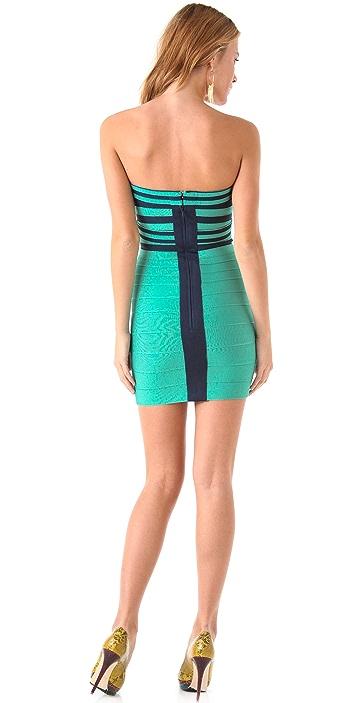 Herve Leger Striped Strapless Dress