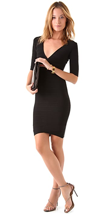 Herve Leger Elbow Sleeve V Neck Dress