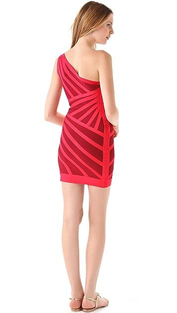 Herve Leger One Shoulder Stripe Dress