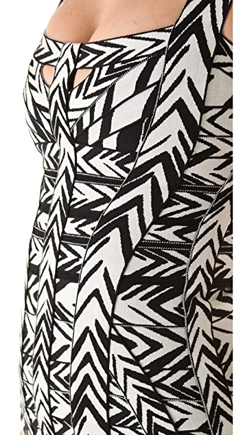 Herve Leger Graffiti Printed Mini Dress