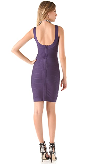 Herve Leger Scoop Neck Dress
