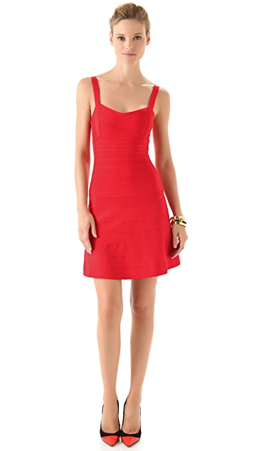 Herve Leger Sleeveless A Line Dress