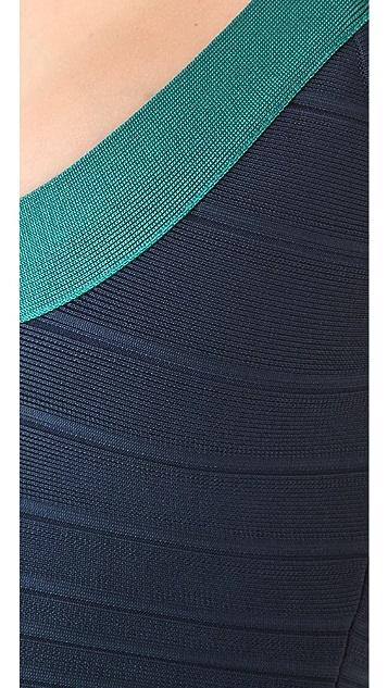 Herve Leger Colorblock Scoop Neck Dress