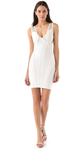 Herve Leger Sleeveless V Neck Dress