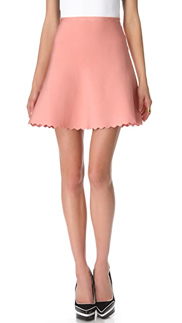 Herve Leger Scalloped A Line Skirt