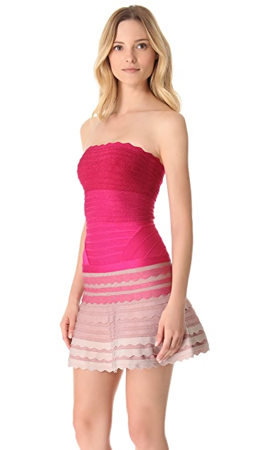 Herve Leger Strapless Scalloped A Line Dress
