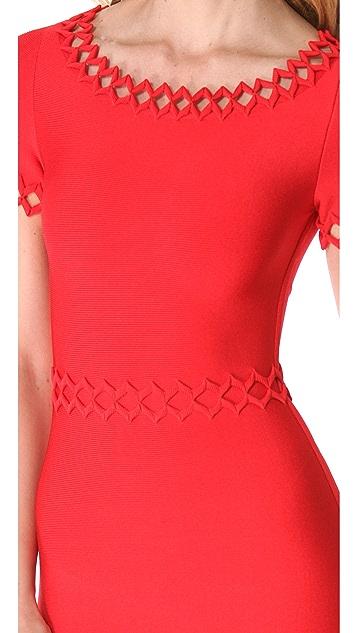 Herve Leger Short Sleeve Cutout Dress