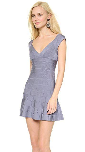 Herve Leger Mirah Dress with Detailed Hem