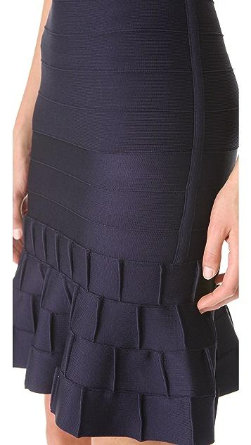 Herve Leger Cadi Ruffle Hem Skirt