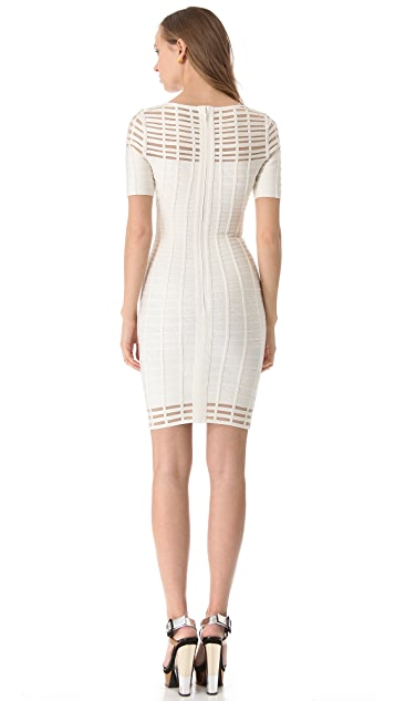 Herve Leger Short Sleeve Cutout Dress