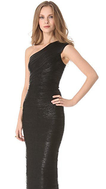 Herve Leger One Shoulder Gown
