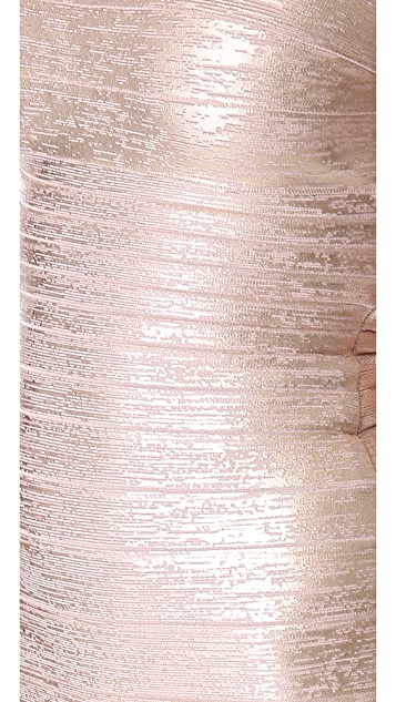 Herve Leger Sianna Foil Strapless Dress