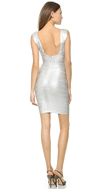 Herve Leger Foil V Neck Dress