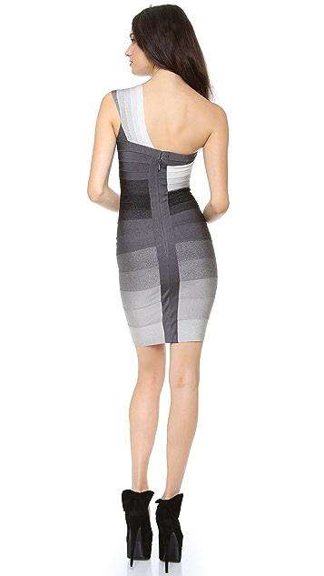 Herve Leger One Shoulder Combo Dress