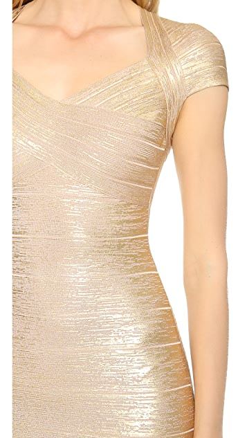 Herve Leger Tejana Short Sleeve Dress