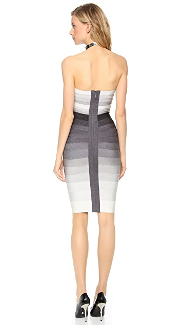 Herve Leger Izzie Ombre Strapless Dress