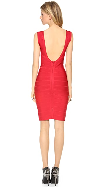 Herve Leger Karima V Neck Dress