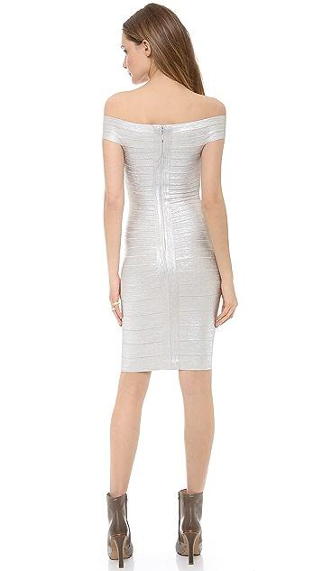 Herve Leger Bridget Off Shoulder Dress