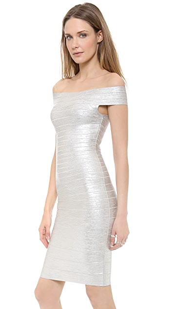 Herve Leger Bridget Off Shoulder Dress