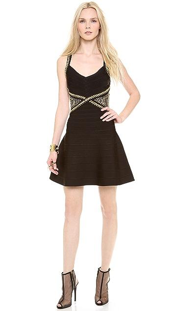 Herve Leger Ayia Studded Mini Dress